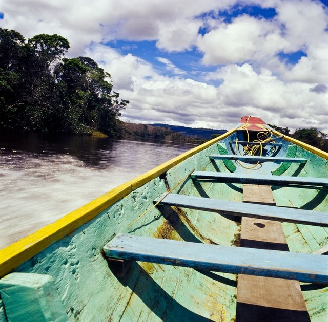 Traveling  the river with my  boat