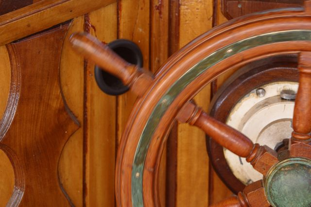 Helm of yacht