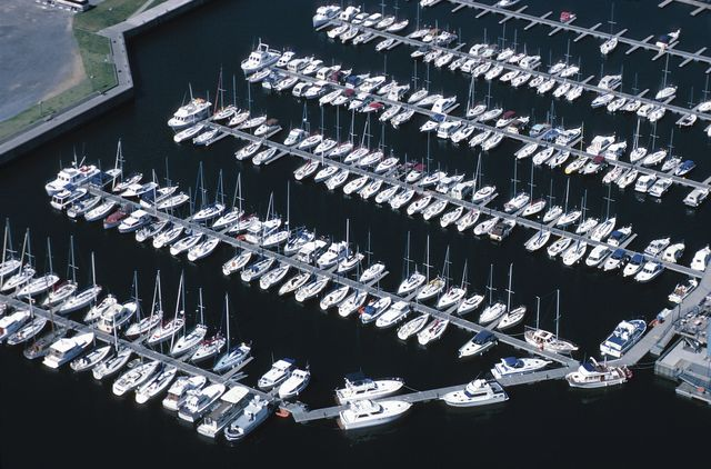 View of boats in a marina