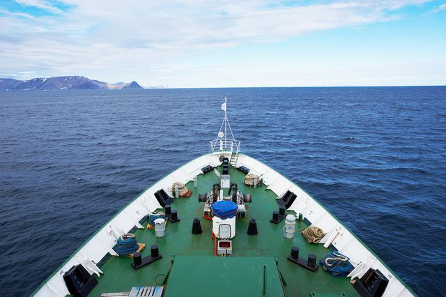 Overlooking deck on bow of ship, Arctic