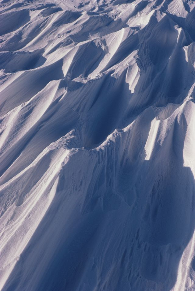 Texture of snow on rugged mountain