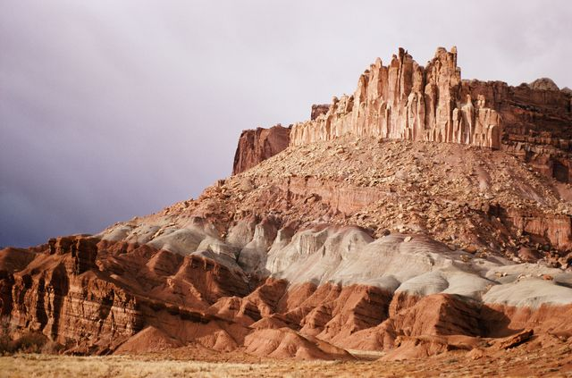 Desert rock formation with colorful strata